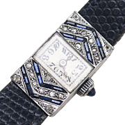 SALE PENDING Antique White 18k Gold, Diamonds and Sapphire Lady Wrist Watch - French Art Deco