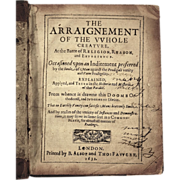 SOLD Antique Book: The Arraignment of the Whole Creature, Dated 1631