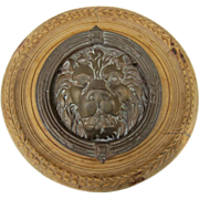 Vintage English Brass Lion Door Knocker on Silkwood Panel