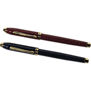 Two Vintage Cross Townsend Lacquer Rollerball Pens - Blue & Red