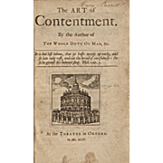REDUCED Extremely Rare Antique Book: The Art of Contentment, by Richard Allestree, Dated 1694