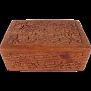 Lovely small chipped carved Vintage Sheesham Cedar Trinket Box