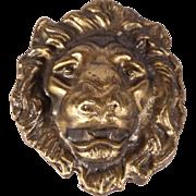 Two 1970's Vintage Lion Head Metal Belt Buckles