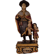 Important Large Antique c1640 Italian Carved Wood Statue of Saint Roch.
