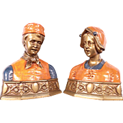 Magnificent Pair of Antique Bronze Painted Bust Book Ends c1910