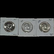 SOLD 1961-1963 Franklin Silver Half Dollars - Philadelphia Mint - 3 Coins Total