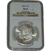 SALE 1880-S Morgan Silver Dollar - NGC Graded MS64 - 135 years old in Mint State ...