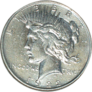 SOLD 1922 Silver Peace Dollar - Nice 93 year old Silver Coin - Philadelphia Mint
