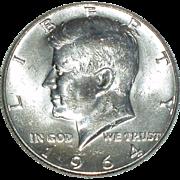 1964 Kennedy Silver Half Dollar - 90% Silver - Beautiful Uncirculated Coin - Philadelphia Mint