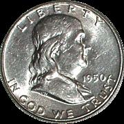 1950 Franklin Silver Half Dollar - Nice 65 year old Silver Coin - Philadelphia Mint - Free ...