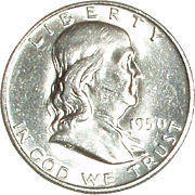 1950- D Franklin Silver Half Dollar - Nice 65 year old Silver Coin - Denver Mint - Free ...