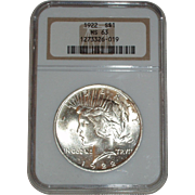 SALE 1922 Silver Peace Dollar - NGC Graded MS63 - Very Nice 93 year old Uncirculated Silver ..