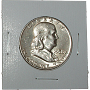 REDUCED 1958-D Franklin Silver Half Dollar - Very Nice 57 year old Silver Coin - Denver ...