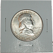 REDUCED 1960-D Franklin Silver Half Dollar - Very Nice 55 year old Silver Coin - Denver ...
