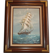 SOLD Vintage Framed Oil on Canvas ~ Signed ~ Beautiful Ship on the High Sea Scene ~ 23x19 - Re