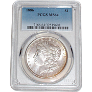SALE 1886 Morgan Silver Dollar - PCGS Graded MS64 - 129 years old in Mint State Uncirculated .