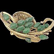 Gorgeous Apple Green JADE Brooch 14k Gold circa 1950's