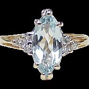 Vintage Aquamarine & Diamond Ring 1.62 Carats Total 10k Gold circa 1980's