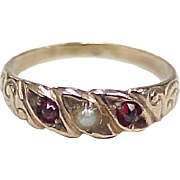 SOLD Victorian Baby Ring 10K Rose Gold Bohemian Garnet & Seed Pearl