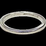 Vintage 18k White Gold Band Ring / Stack Ring circa 1950's