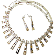 Navajo Necklace & Earring Set Intarsia Inlay Sterling Silver by Calvin Begay