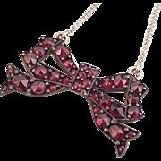 Vintage Bohemian Garnet BOW Necklace