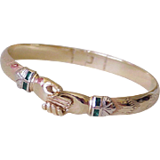 Fede Gimmel Bracelet 14K Gold & Emerald, Friendship Bangle, Mel Fishers Treasure One of a Kind