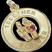 Vintage Bridal Charm 14K Gold, Together Forever, circa 1960's