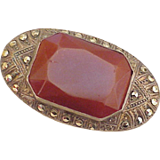 Vintage Brooch GERMANY Sterling Silver Faceted Carnelian & Marcasite circa 1920-30's