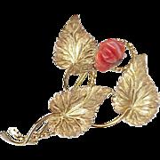 Floral Brooch 18k Gold Carved Red Coral Rose