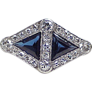 Art Deco Ring Platinum Sapphire & Diamond 2.48 Carats Total Weight