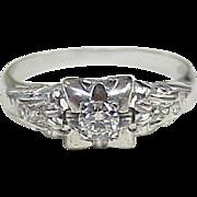 Vintage Diamond Engagement Ring .22 ctw VS 18k White Gold circa 1930's