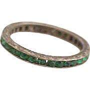 Vintage Eternity Ring Faux Emerald Sterling Silver size 3-1/2