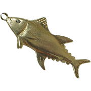 Vintage Trophy Fish Charm 14K Gold Diamond Accent circa 1957