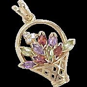 Vintage 14k Gold Jeweled Charm ~ Flower Basket, circa 1980's