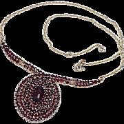 REDUCED Impressive Bohemian Garnet Necklace 14k Gold circa 1970-80's