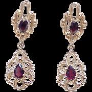 Victorian Revival Ornate Dangle Earrings 14k Gold & Garnet