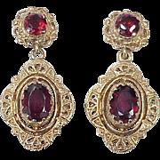 Victorian Revival Ornate Dangle Earrings Garnet  14k Gold circa 1950's