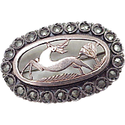 Georgian Era Brooch Sterling Silver, 12k Rose Gold & Marcasite, Stag & Thistle Motif
