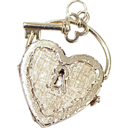 Large HEART Lock Locket With Key Charm / Pendant 14k Gold 1970's