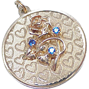 Vintage 14k Gold Jeweled Romantic Charm, Blue Spinel circa 1960's