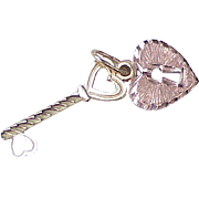 Vintage 14K Charm(s) Key & Heart Lock Rose & Yellow circa 1980's