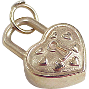 Vintage 14k Gold Charm ~ Big Heart Lock, Three Dimensional Puffed Design circa 1980's