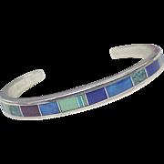 Vintage Navajo Cuff Bracelet Sterling Silver & Colorful Intarsia Inlay