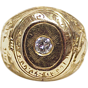 REDUCED US Naval Academy / Annapolis Ring 1947, 14k Gold .33 Ct Diamond