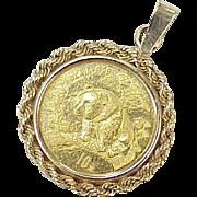 Fine Gold Pandan Coin 1/10 oz set in 14k Gold Bale, Charm or Pendant