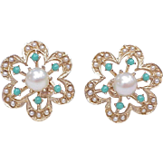Mid-Century Victorian Revival Screw Back Earrings 14k Gold Seed Pearl & Persian Turquoise