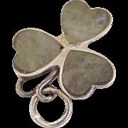 Vintage Irish Shamrock Charm Sterling Silver & Green Agate circa 1940's