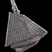 Vintage Sterling Silver Sailing Boat Charm ~ Friendship Sloop circa 1970's