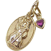 Vintage Saint Christopher Medal Charm With Ruby Heart Charm 14k Gold